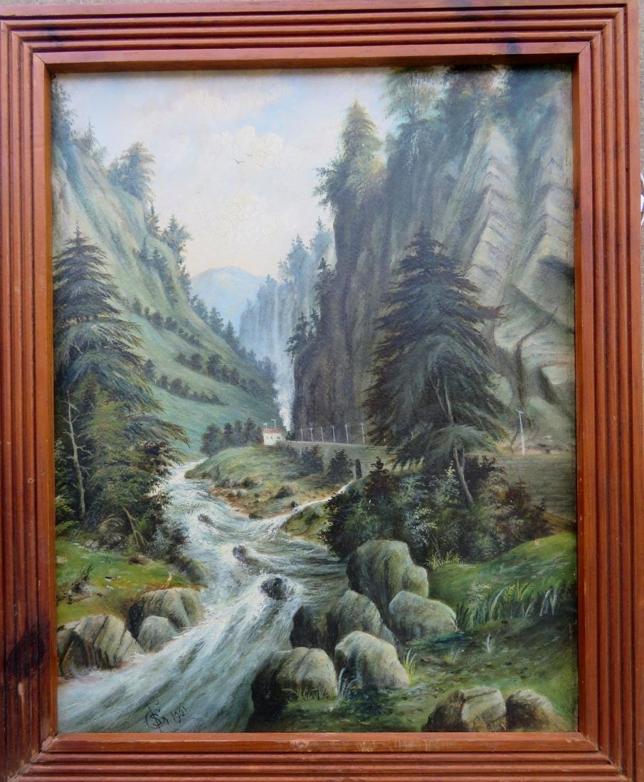 Oil on artist board of steam engine going through