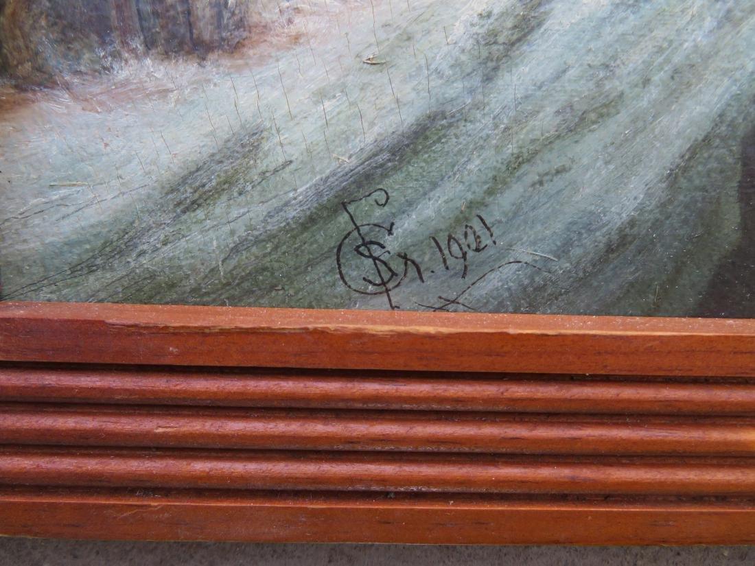 Oil on artist board of steam engine going through - 3