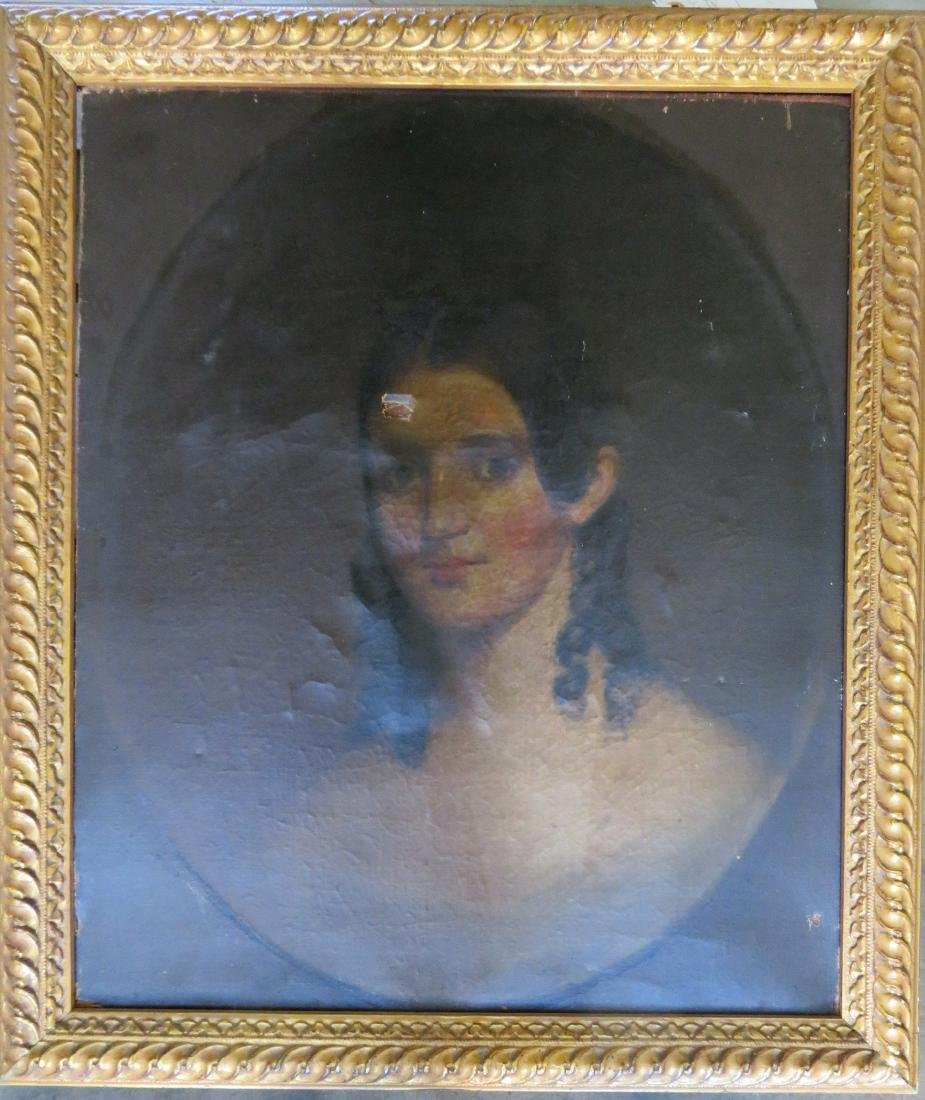 O/C Portrait of a lady with curls, early 19th century.