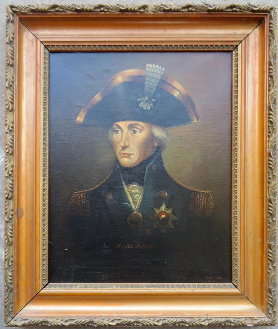O/C Portrait of Admiral Horatio Nelson, signed Brian