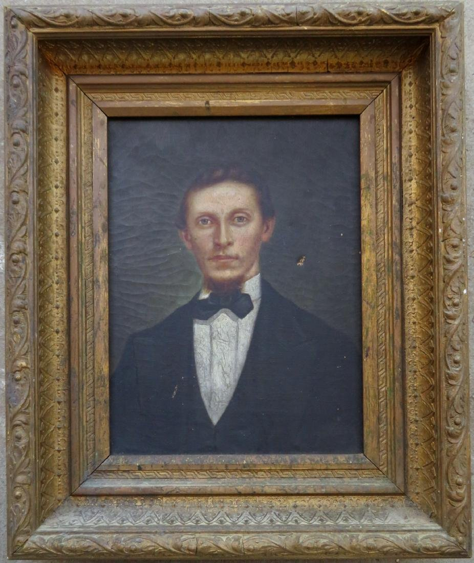 O/C Portrait of a gentleman in a gilt gesso frame,