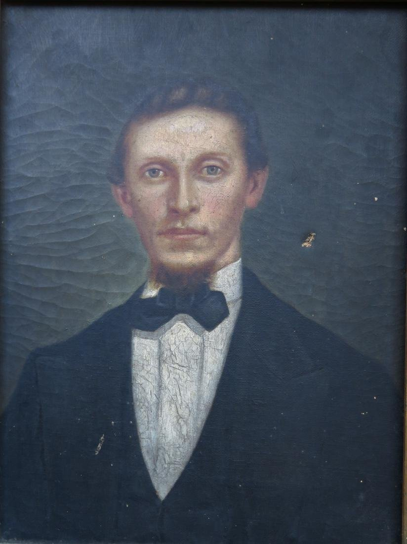 O/C Portrait of a gentleman in a gilt gesso frame, - 2