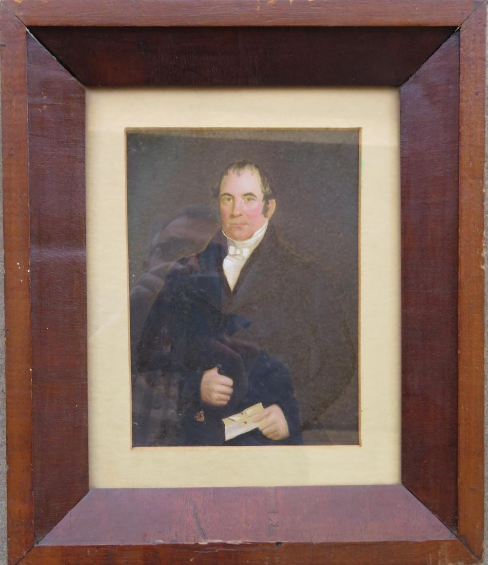 Oil on paper, portrait of a stately gentleman holding