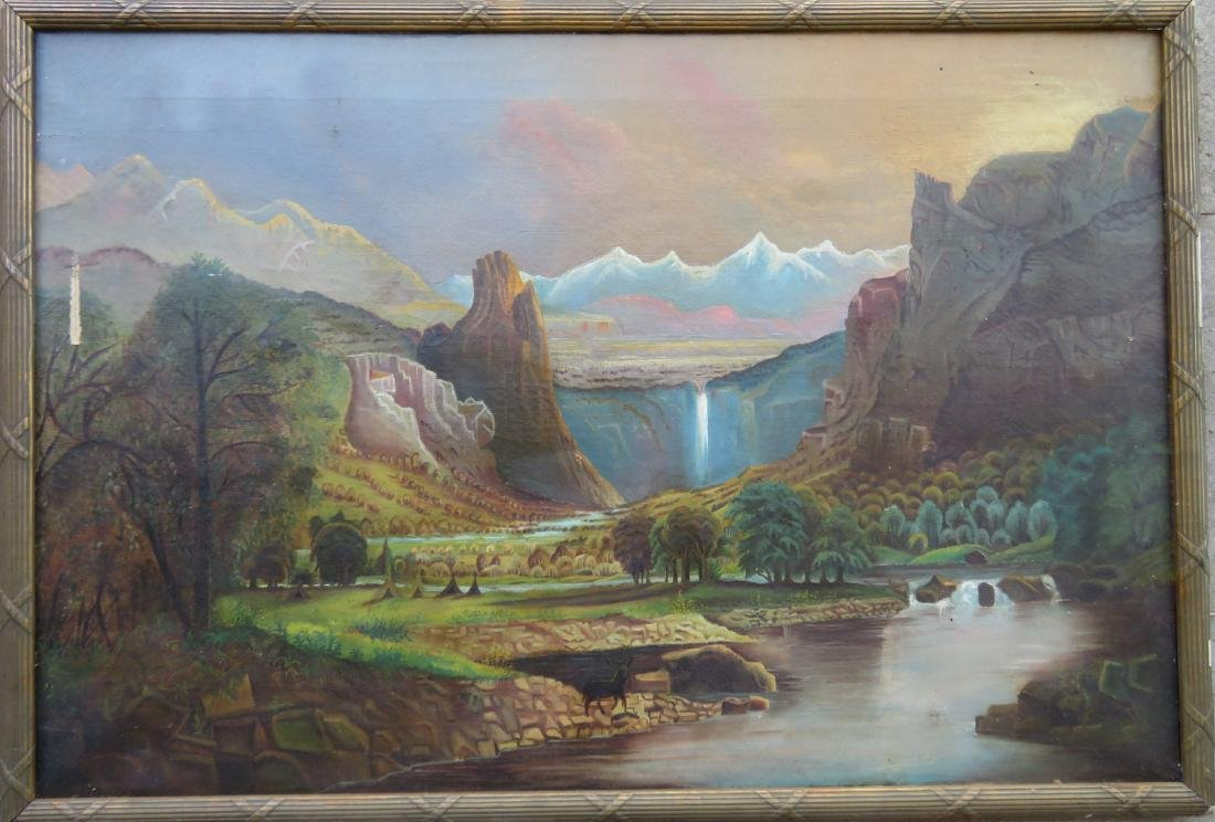 O/C Primitive landscape of mountains, waterfall and