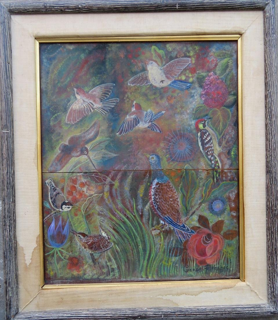 Oil on wood panel depicting a group of colorful birds