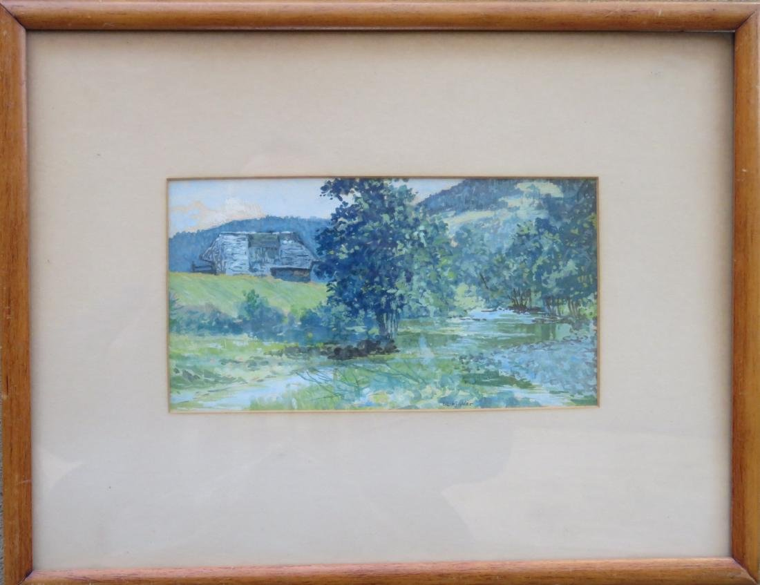 Good quality W/C landscape with barn, meadows and