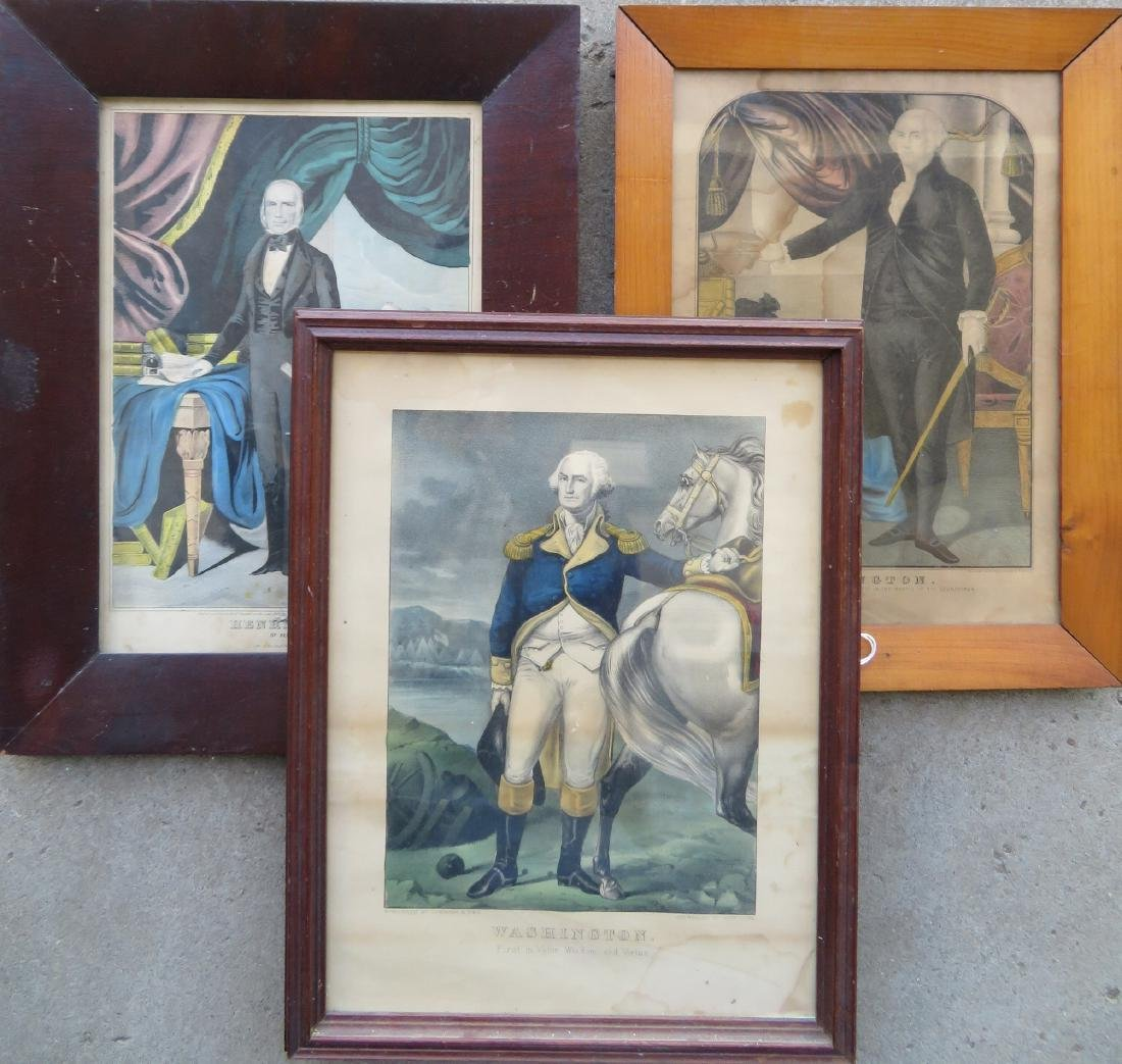 Grouping of 3 historical hand colored lithographs: 1)