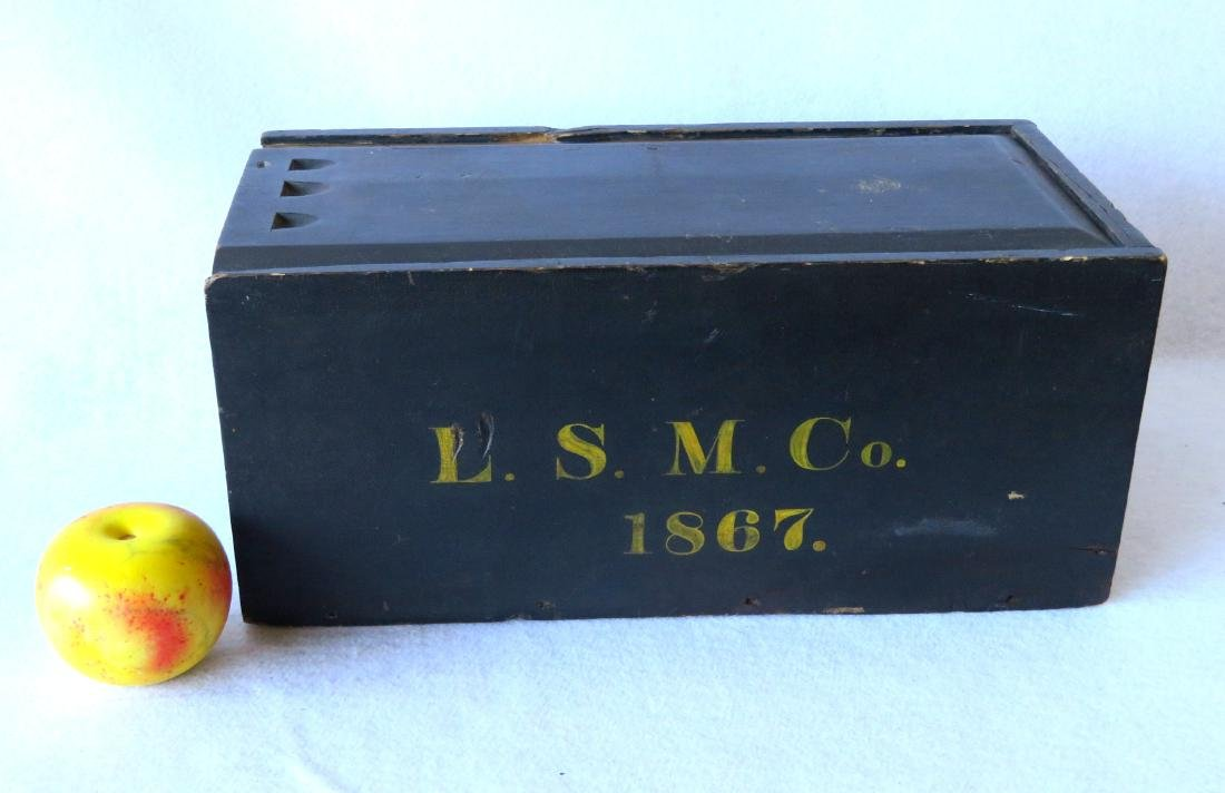 Slide lid box in original darkened blue paint with