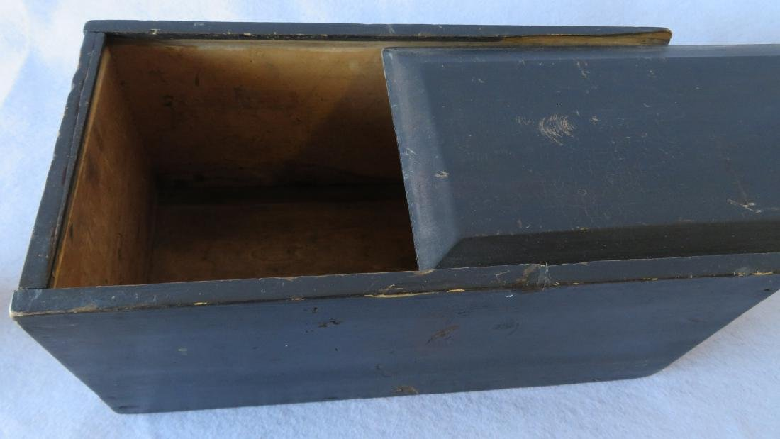 Slide lid box in original darkened blue paint with - 4