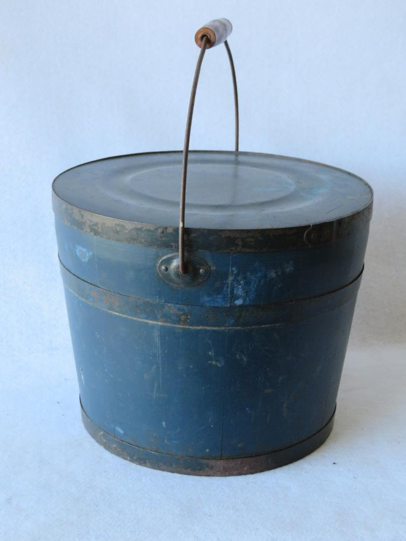 Early lidded bucket with bail handle in old blue/green - 2