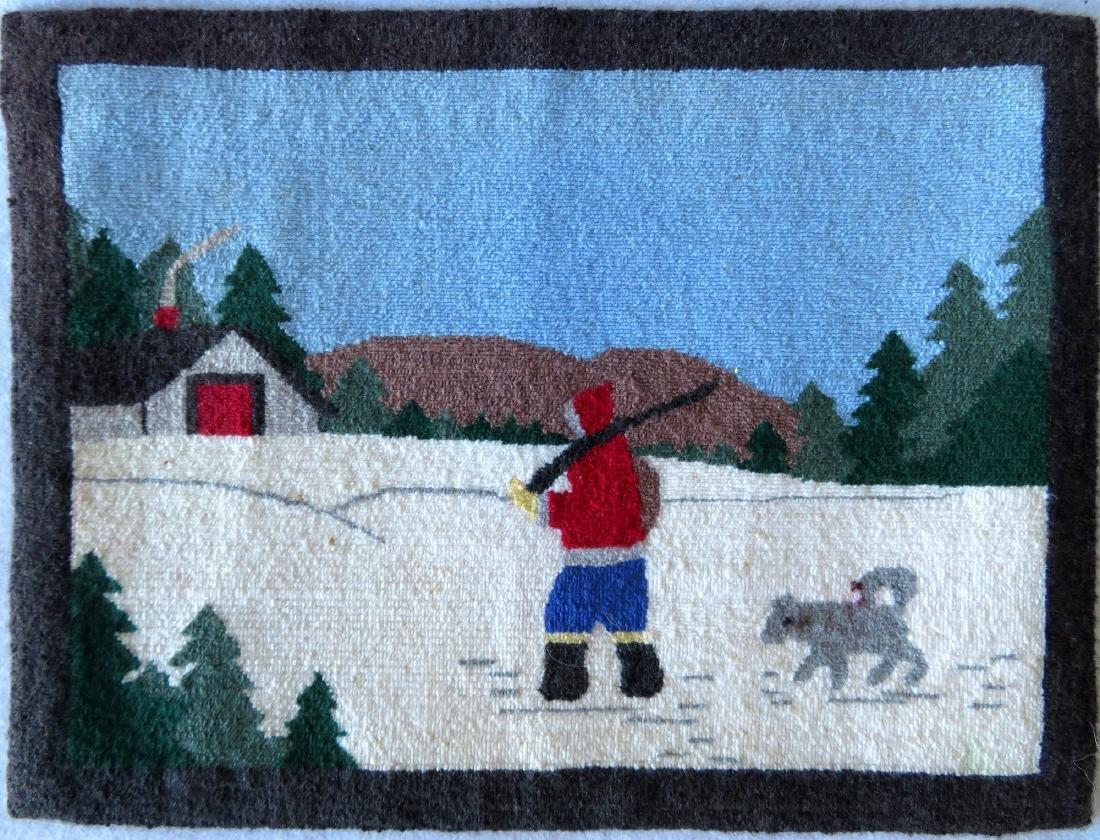 Newfoundland Grenfell hooked mat featuring an Eskimo