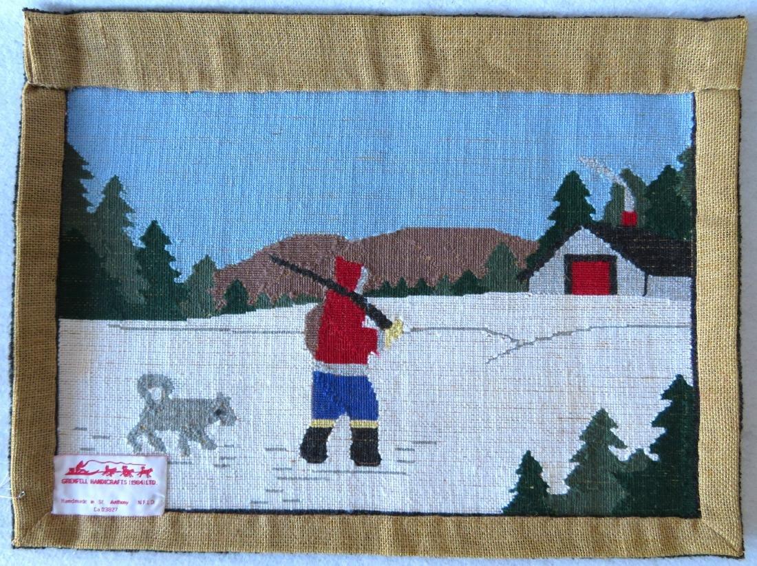 Newfoundland Grenfell hooked mat featuring an Eskimo - 3