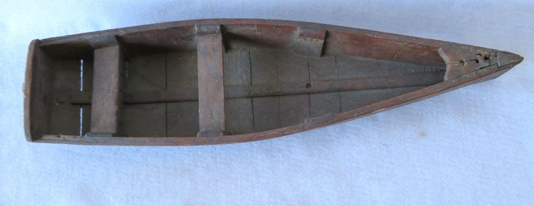 Two handmade wooden rowboats, both with traces of - 6