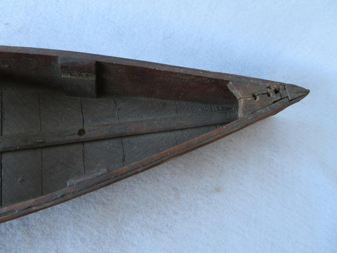 Two handmade wooden rowboats, both with traces of - 7