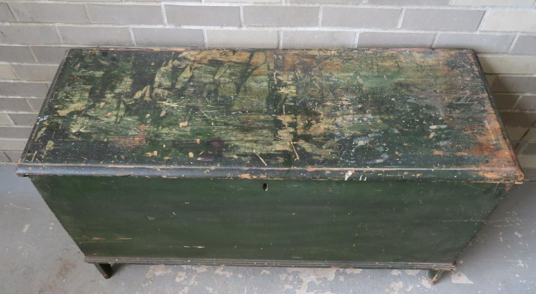 Early blanket box in old green paint over original red - 2