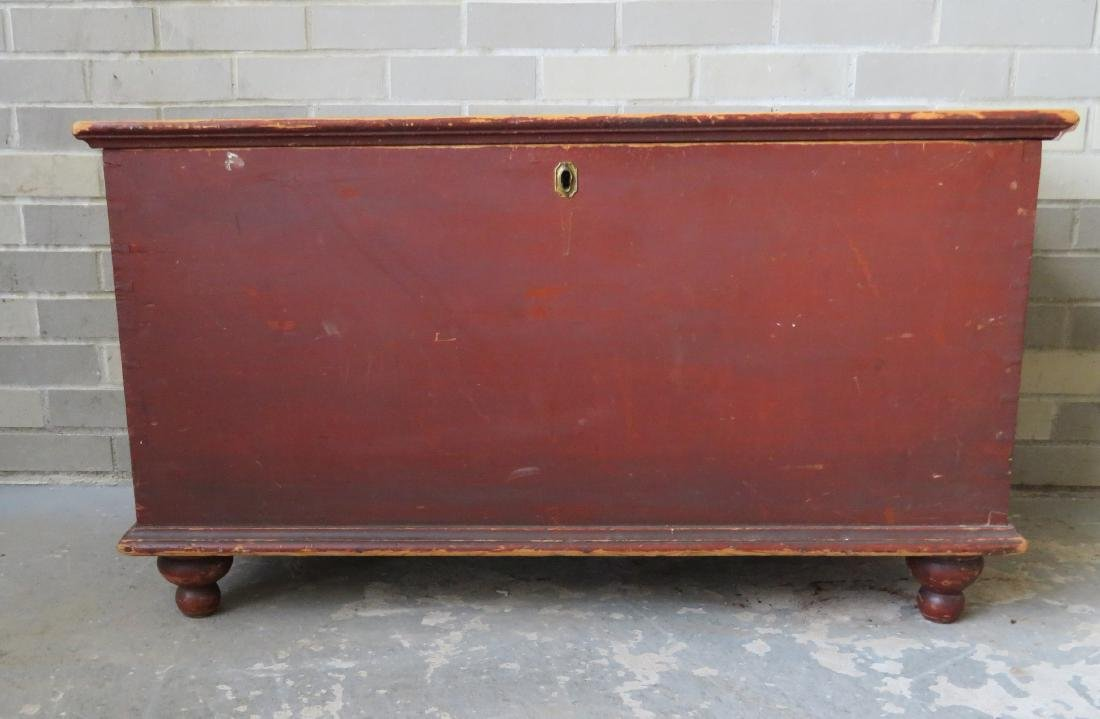 Blanket box in original red paint with interior till