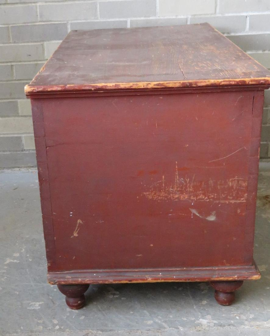 Blanket box in original red paint with interior till - 6