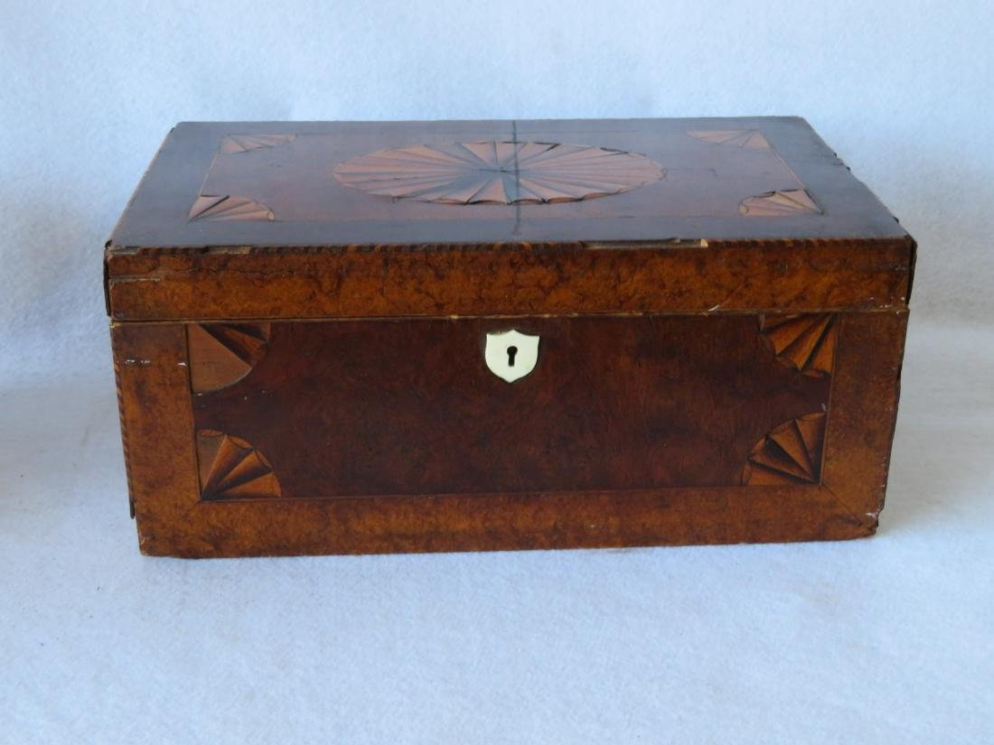 Two primitive federal document boxes: 1) Fancy burlwood - 2