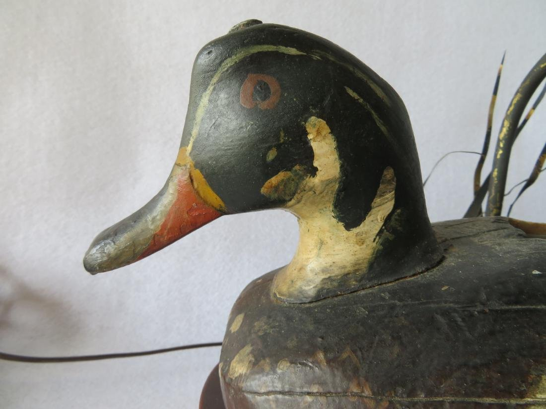 Early carved Wood Duck decoy converted to lamp with - 2