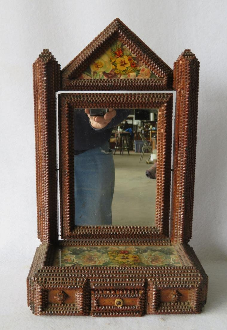 Tramp Art dressing mirror with lower drawer - 19th
