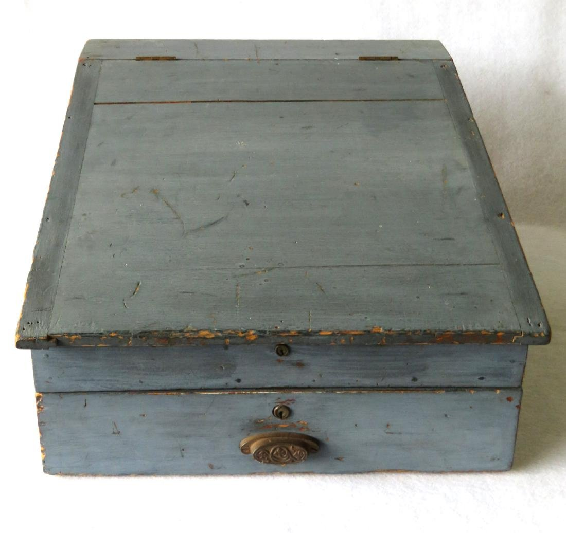 Country store table top desk in original blue paint,