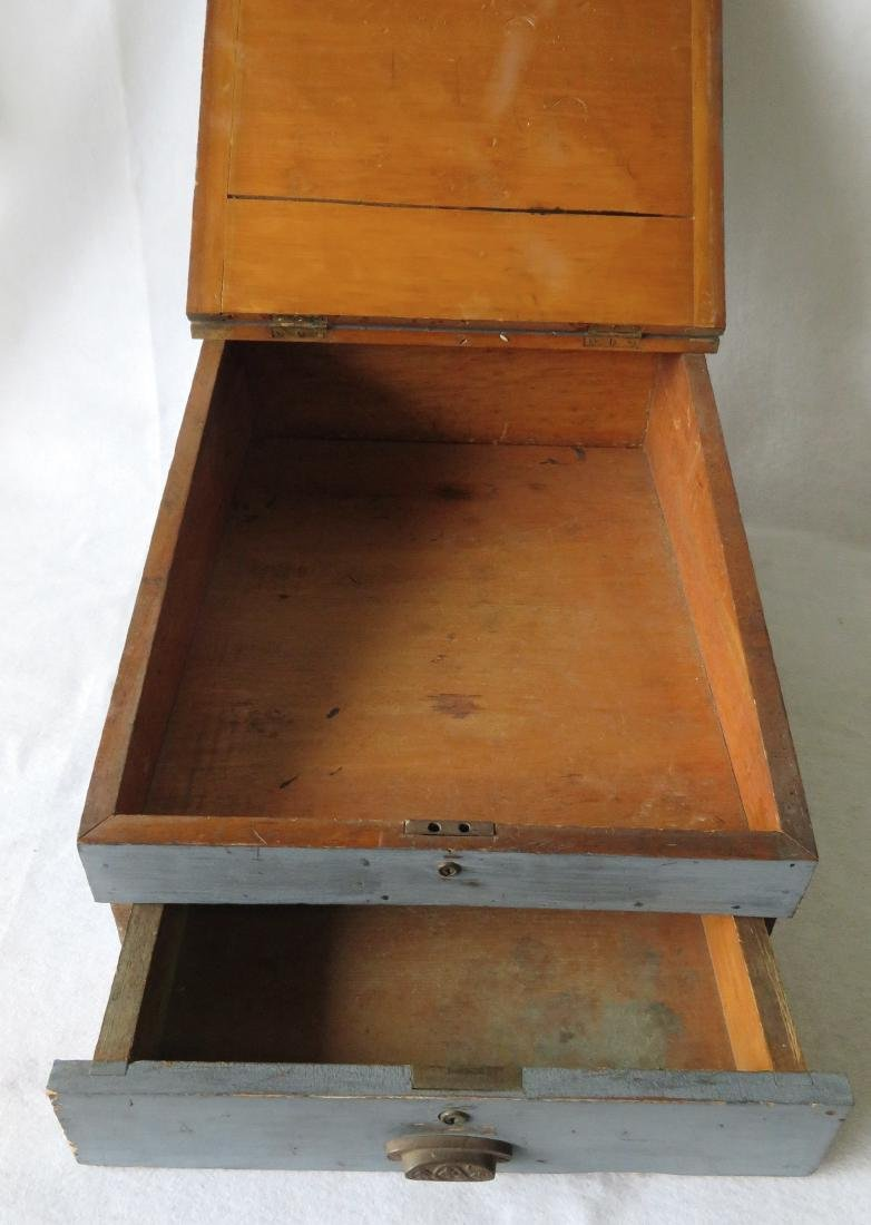 Country store table top desk in original blue paint, - 2