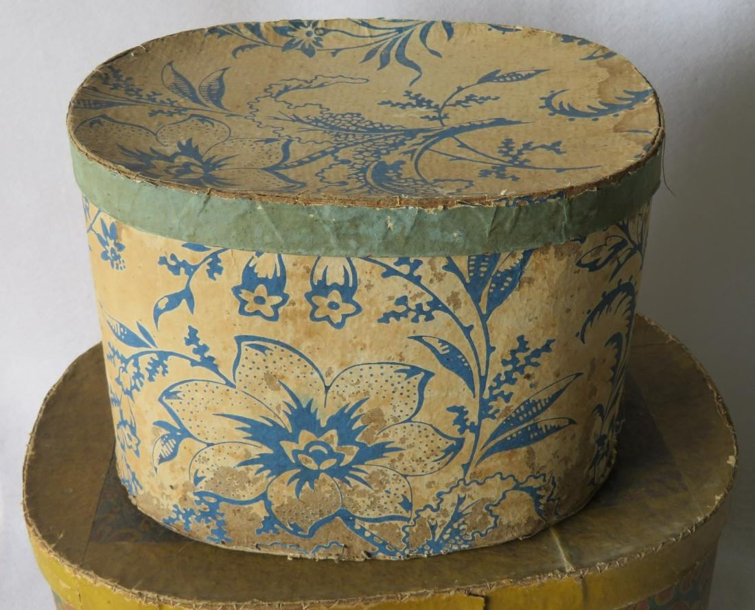 Two colorful 19th century wall paper band boxes - 2