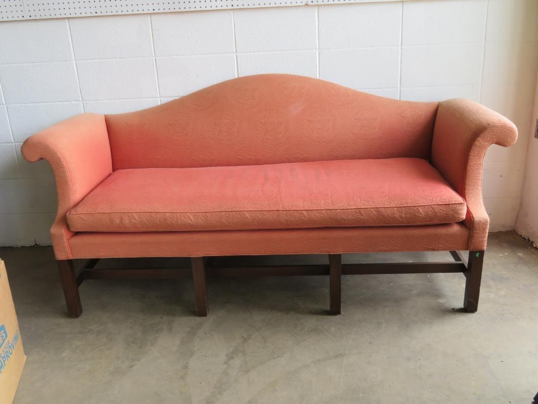 Kittinger Chippendale style camel back upholstered sofa