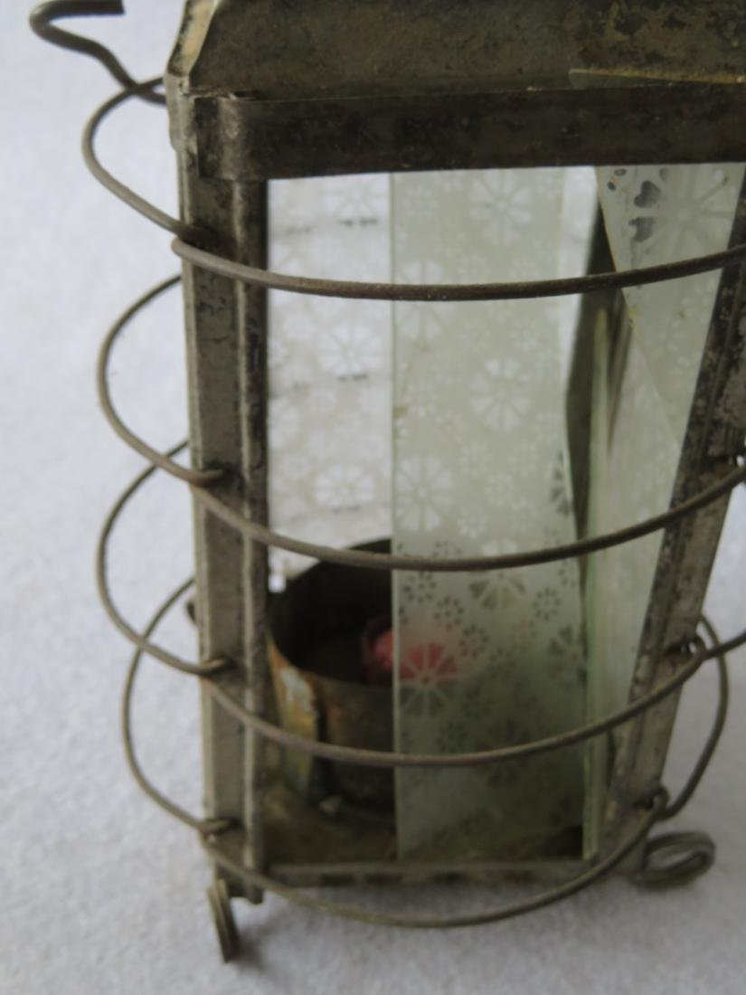 An early tin candle lantern with bale handle and having - 2
