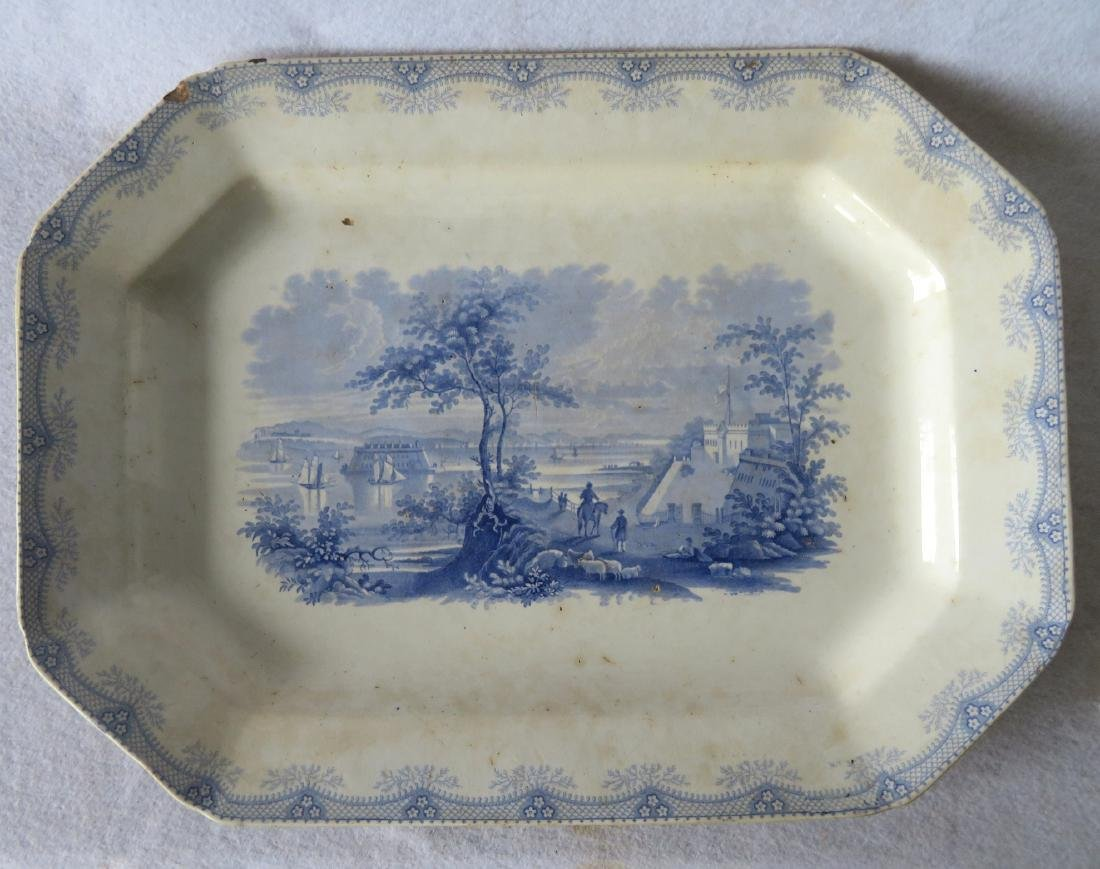 Staffordshire blue and white octagonal platter with