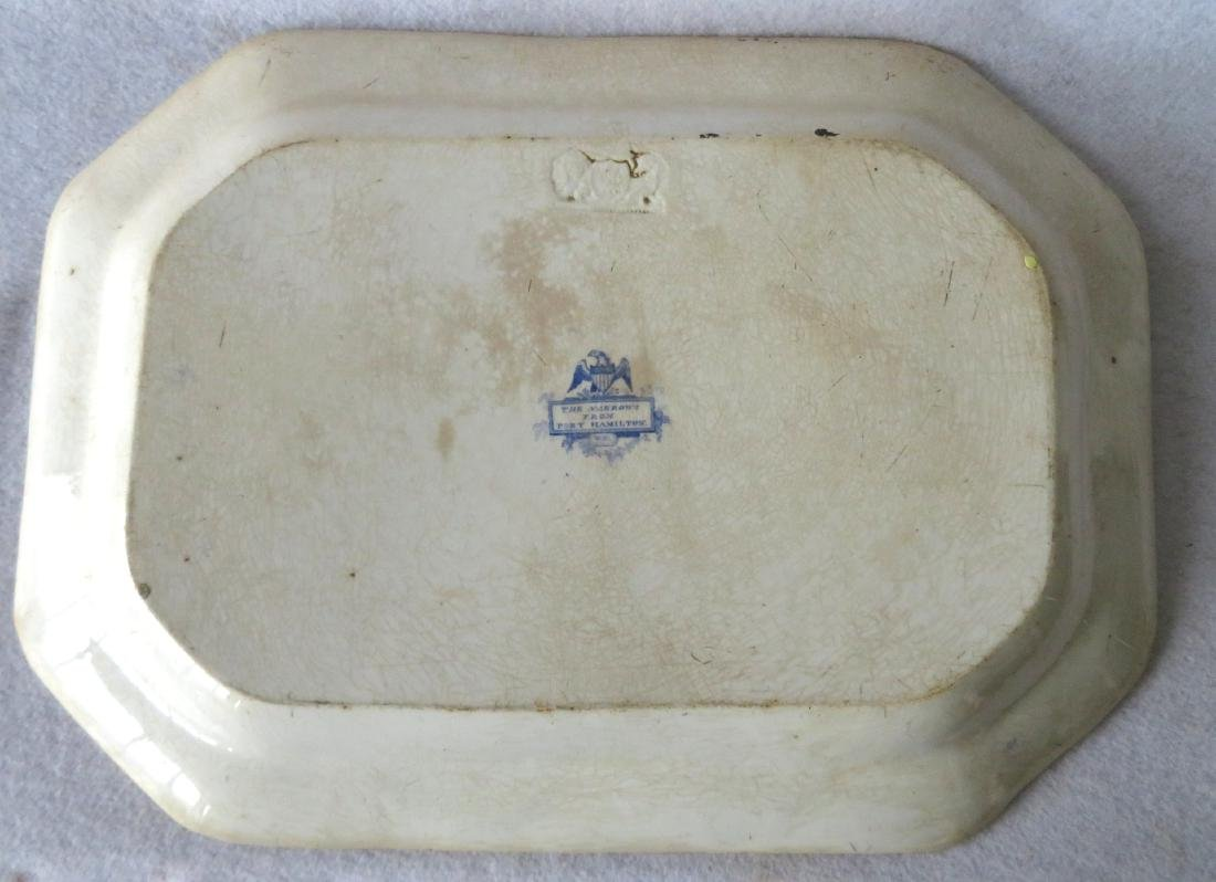 Staffordshire blue and white octagonal platter with - 4