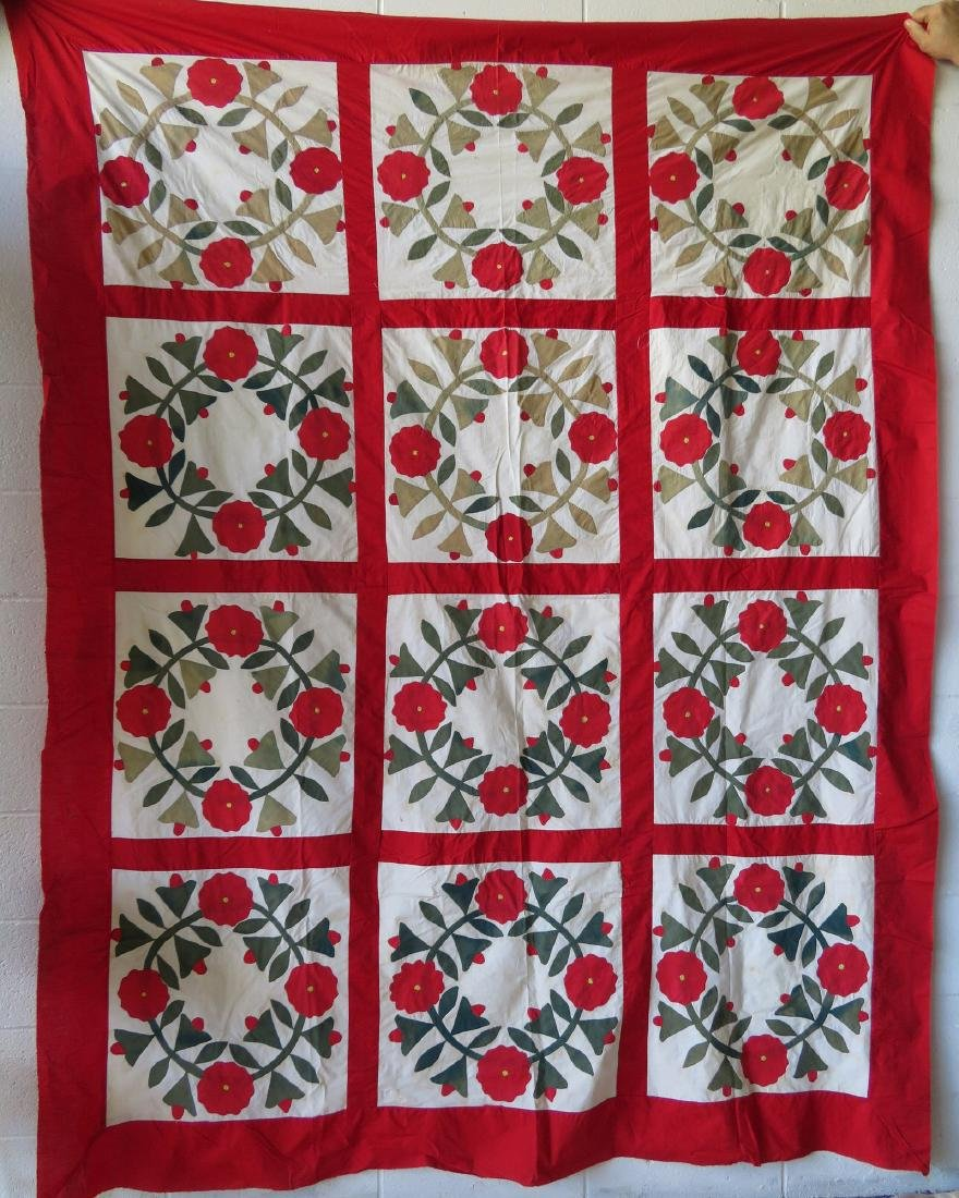 Rose of Sharon applique quilt top. Condition: Some