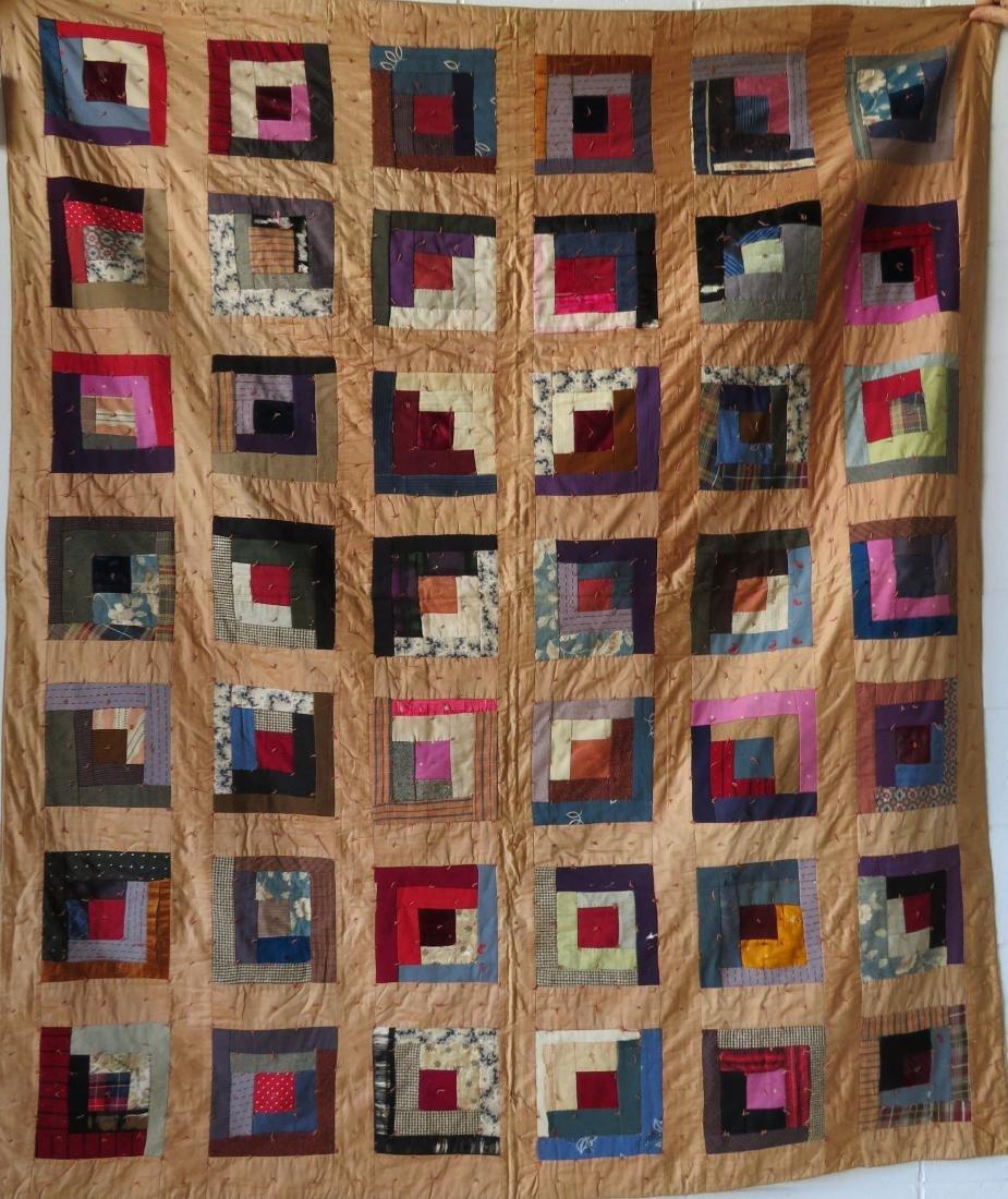 Log cabin pattern patchwork quilt - size xxx - several