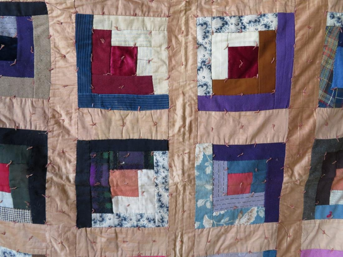 Log cabin pattern patchwork quilt - size xxx - several - 2