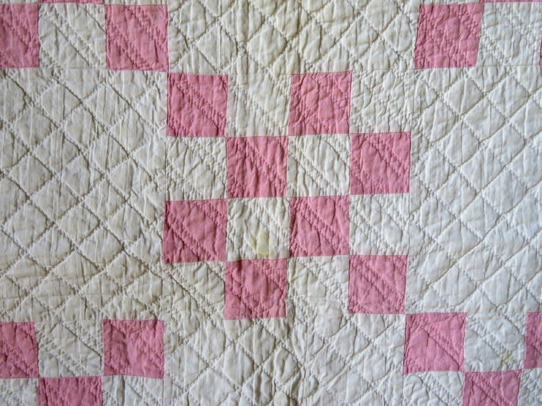 Two pink and white patchwork quilts: Drunkard's Path - 3