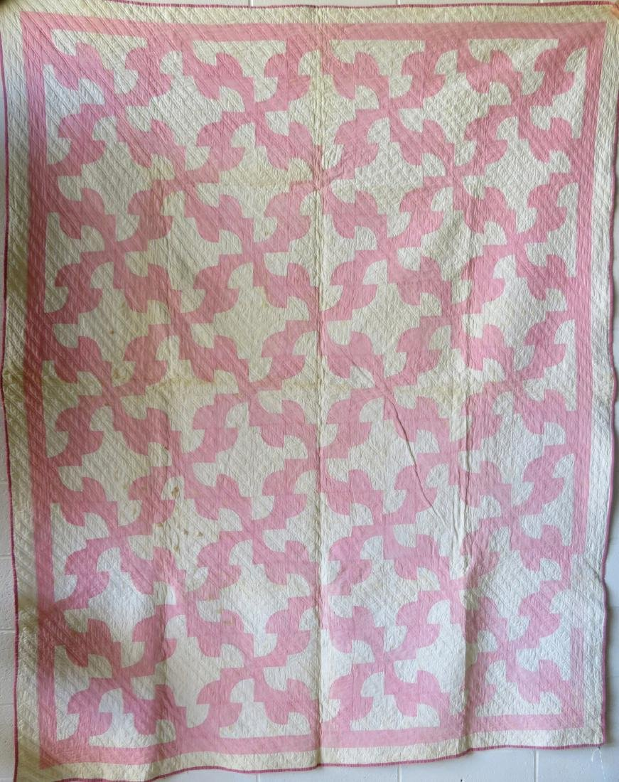 Two pink and white patchwork quilts: Drunkard's Path - 6