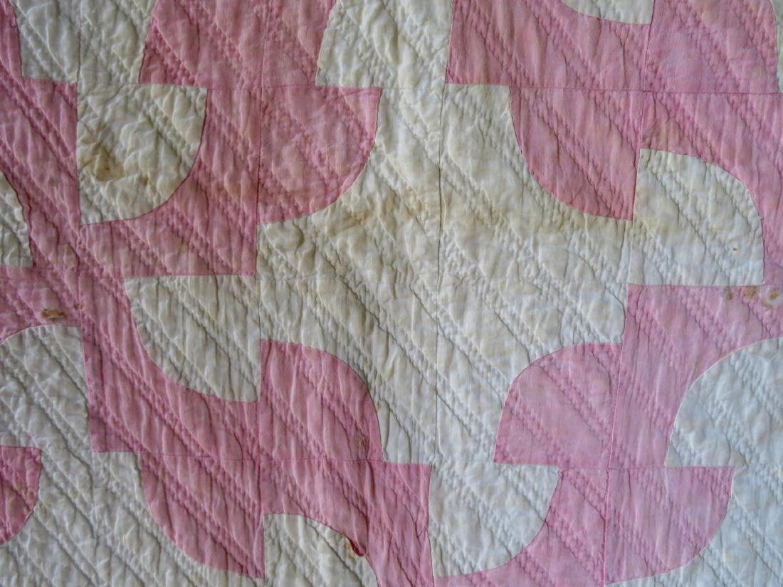 Two pink and white patchwork quilts: Drunkard's Path - 7