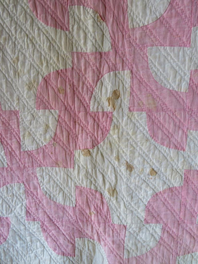 Two pink and white patchwork quilts: Drunkard's Path - 8