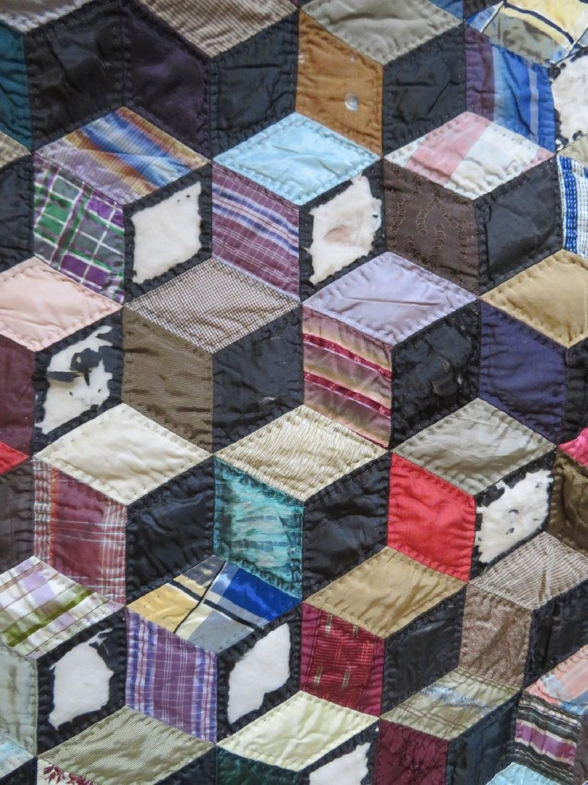 Two patchwork quilts in the rolling block pattern: 1) - 4