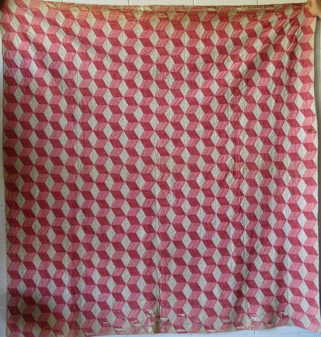 Two patchwork quilts in the rolling block pattern: 1) - 7