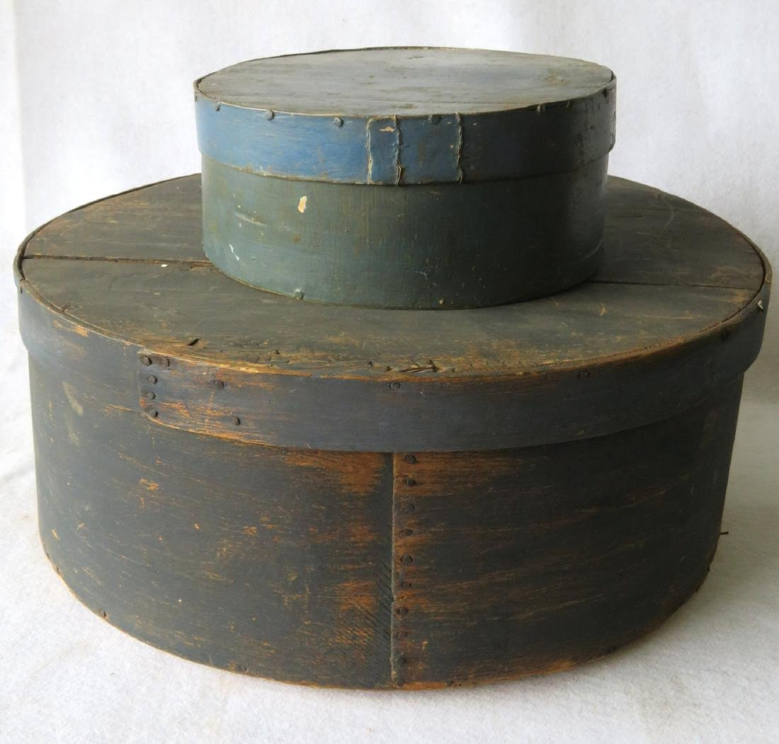 Two blue/green 19th century storage boxes including a