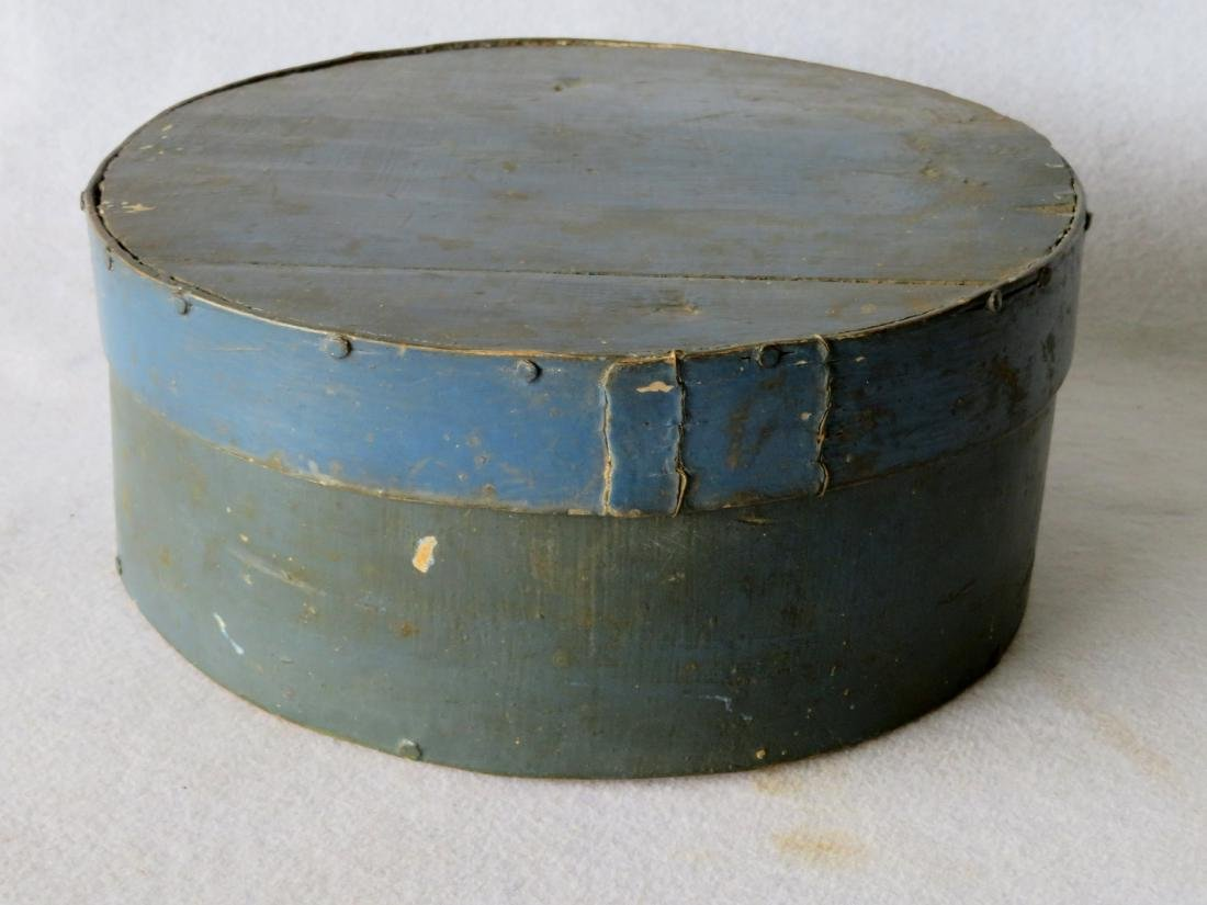 Two blue/green 19th century storage boxes including a - 3