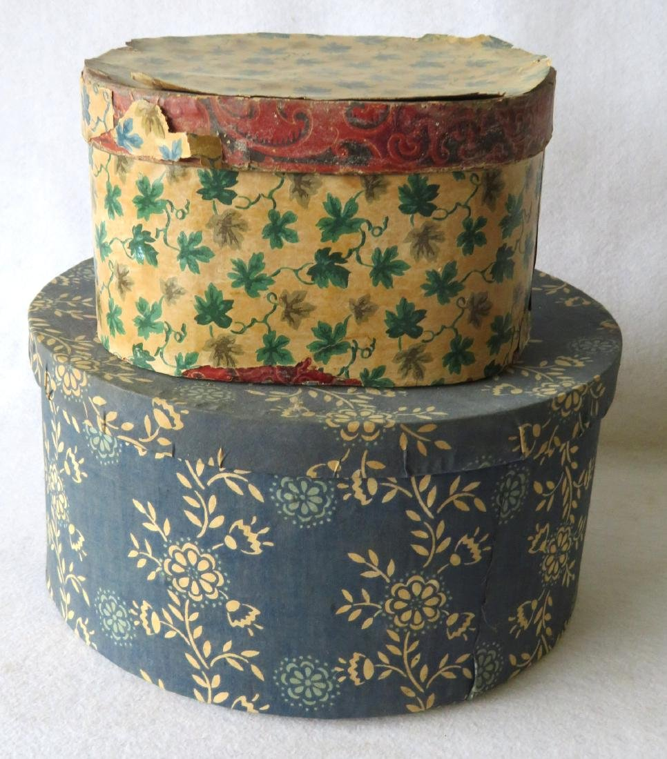 Two old band boxes, both with later wall papered