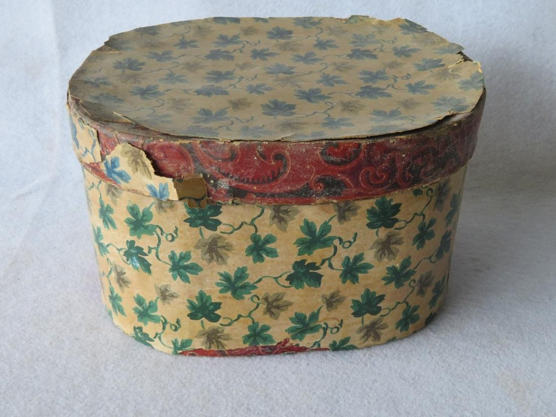 Two old band boxes, both with later wall papered - 2
