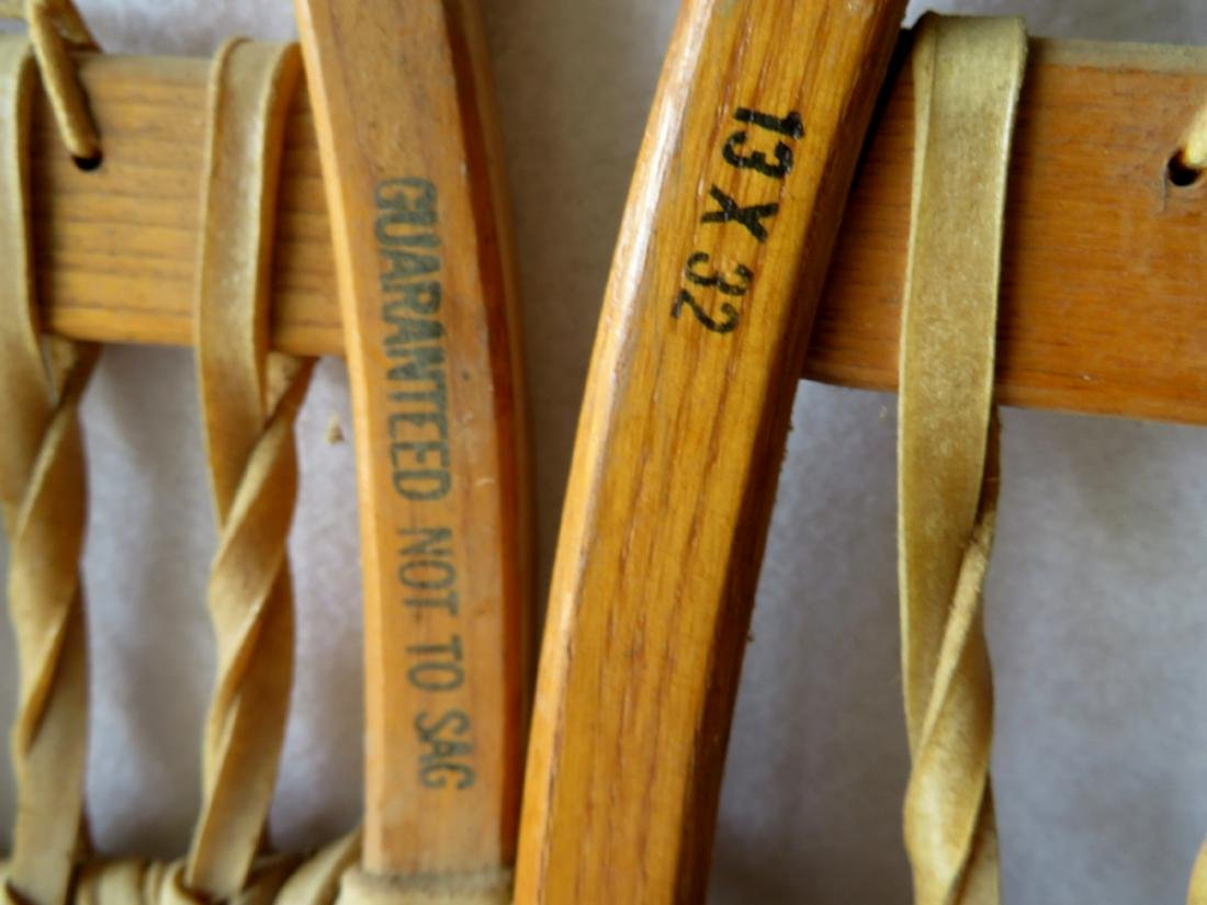 """Pair of hickory snow shoes signed """"Northland"""" - 13"""" x - 3"""