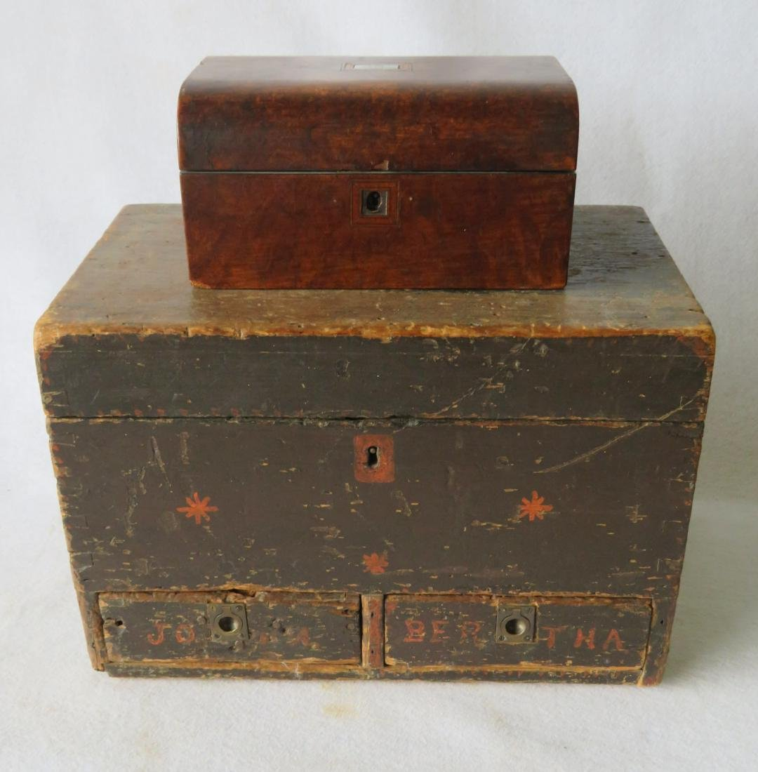 Two early boxes including a small dome top document box
