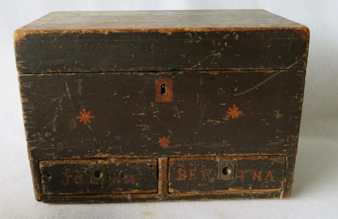 Two early boxes including a small dome top document box - 5