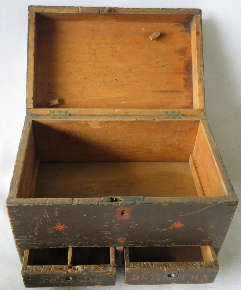 Two early boxes including a small dome top document box - 6