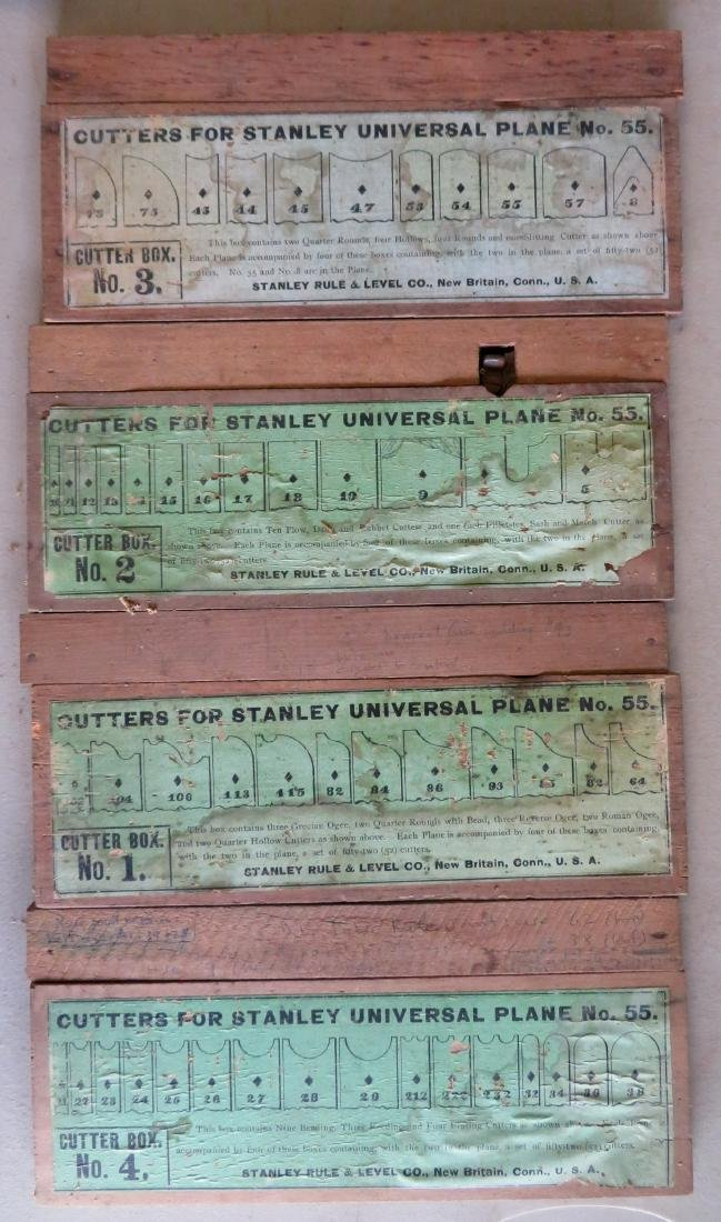 Stanley No. 55 Universal Plane in original box with 4 - 4