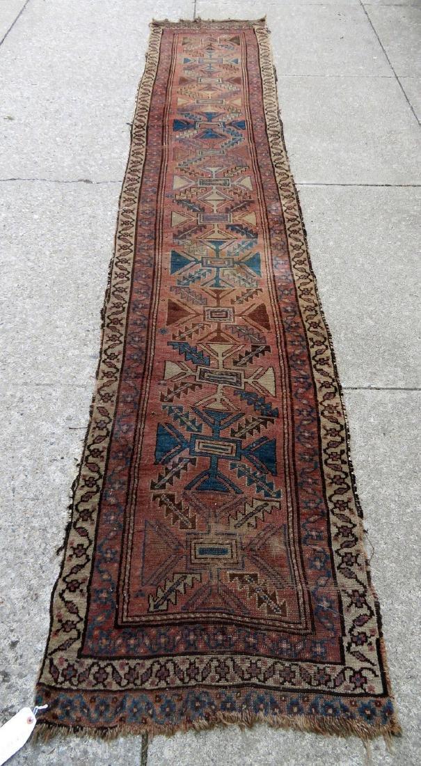 """Oriental rug - runner - 13' 8"""" x 2' 7"""" - 19th century -"""